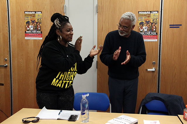 Alicia Garza of Black Lives Matter and Standford Historian Dr. Clayborne Carsen discuss the evolution of civil rights movements. Photo By Laura Waxmann