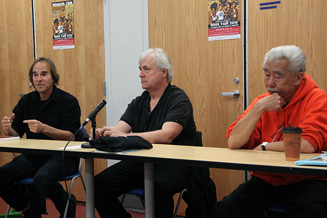 Randy Shaw (left), David Talbot, and Gordon Chin (right), discuss lesson's learned through past movements and grassroots activism. Photo By Laura Waxmann