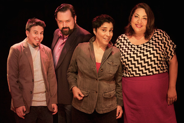 Left to right: Chris Storin, Baruch Porras-Hernandez, Marga Gomez, Lydia Popovich. Photo by Anastacia Powers Cuellar