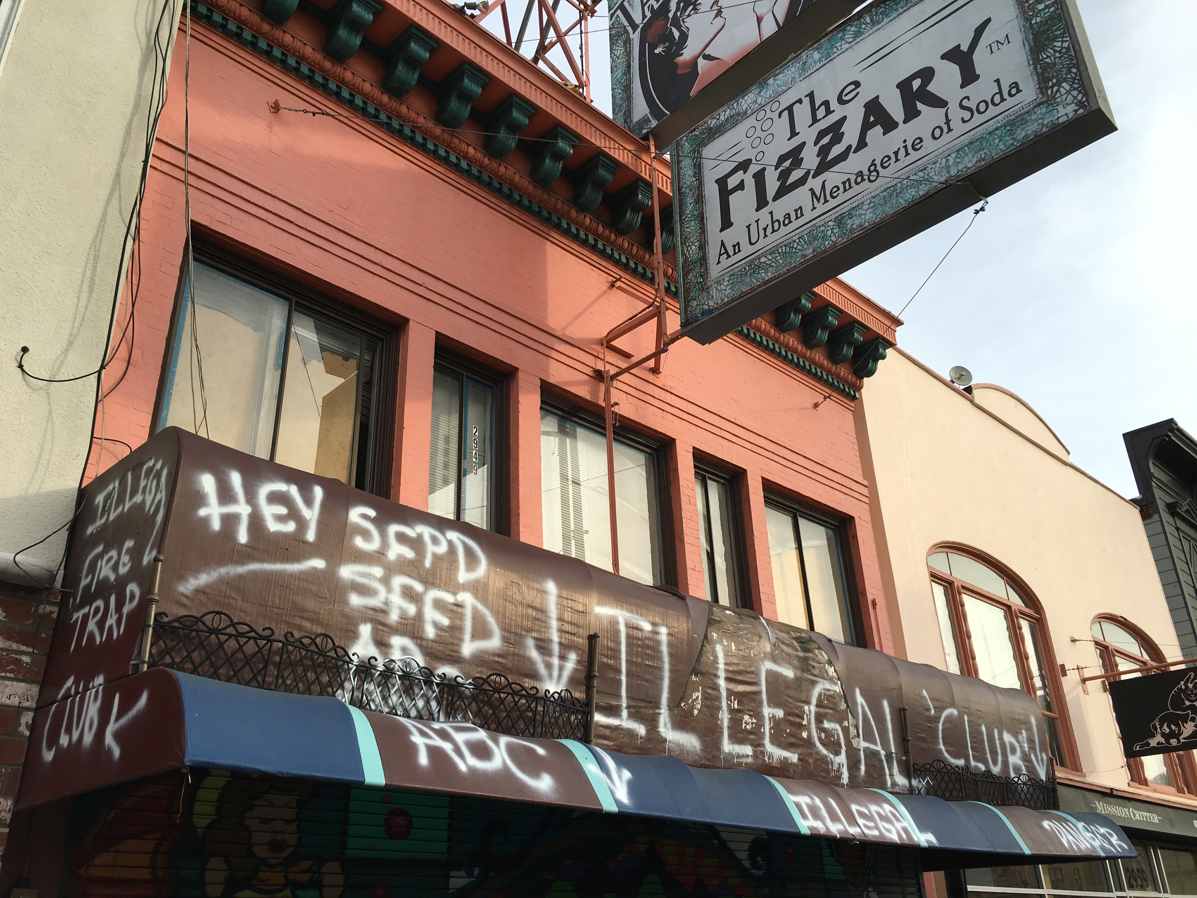 The former Fizzary, now the site of an illegal gambling den. Photo: Joe Rivano Barros / Mission Local.