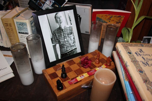 A small memorial to Steve Brandwein at Adobe Books, featuring a photo by Allison Anderson. Photo: Joe Rivano Barros / Mission Local.
