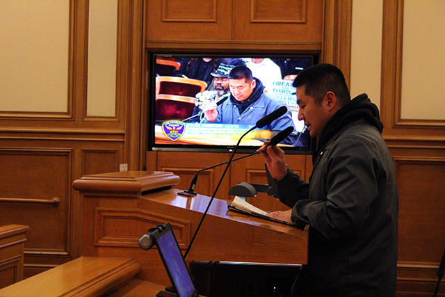 An SFPD police officer addresses the Police Commission