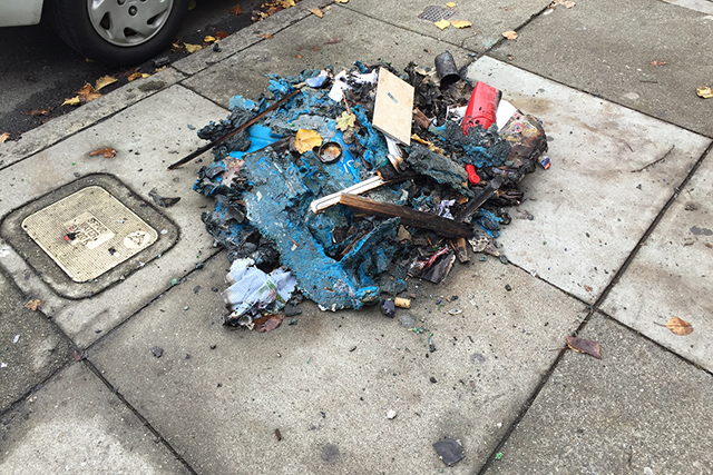 The remains of this morning's fire. Photo by George Lipp