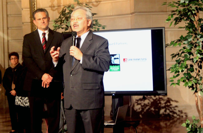 Mayor Ed Lee speaks at NEN Awards on January 27. Photo by Laura Waxmann