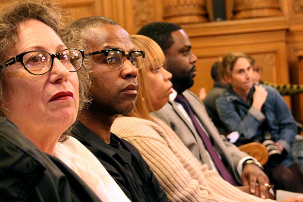 Gwendolyn Woods (far right) and supporters of the Justice for Mario Woods Coalition at the Board of Supervisors meeting on January 12. Photo by Laura Waxmann