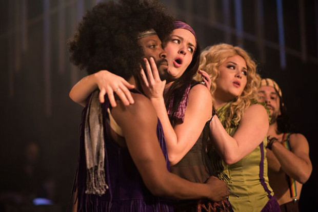 From left to right: Rotimi Agbabiaka, Ally Reardon, Adrienne Walters, and David Glazers perform in Hair. Photo courtesy of Bay Area Musicals!