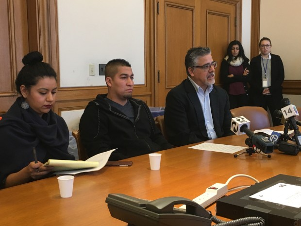 Pedro Figueroa, middle, with Supervisor John Avalos at a press conference Friday morning. Photo: Joe Rivano Barros / Mission Local.