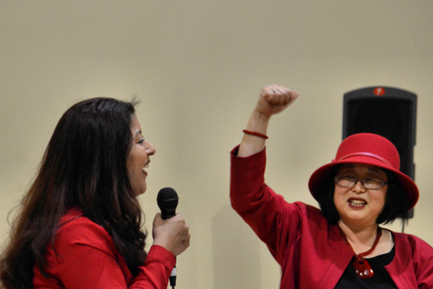 Diana Oliva Aroche of the Mayor's Office of Violence Prevention celebrates the One Billion Rising movement at the Women's Building. Photo by Cristiano Valli