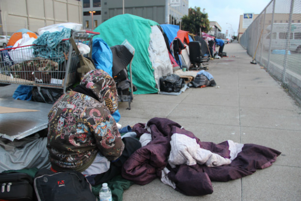 An encampment near Division Street after the crackdown by the city in February 2016. Photo: Joe Rivano Barros