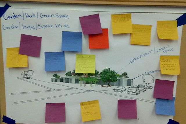 Proposal with commercial and green space mixed.