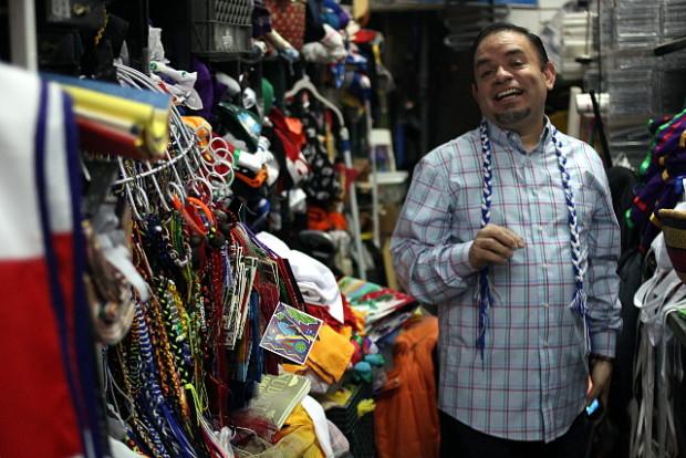 Julio Villacorta inside his shop. Photo by Noah Arroyo / Mission Local.