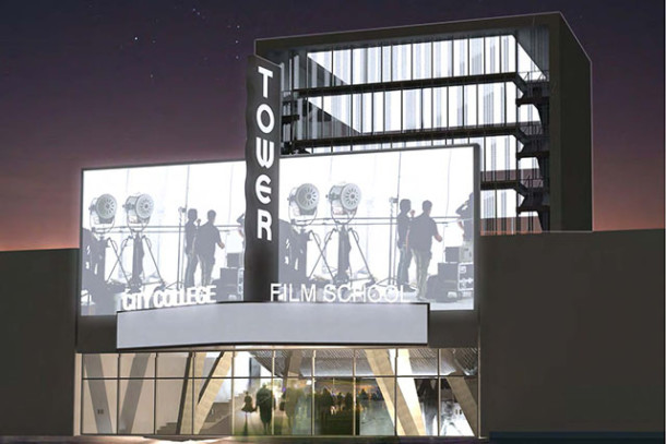 How the cinema school is envisioned at night. Image courtesy of Leonardo Zylberberg