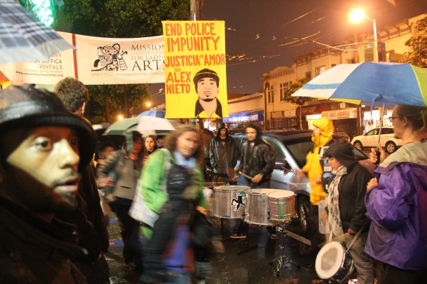Drummers outside the Mission Cultural Center on Thursday night at a post-verdict gathering for Alex Nieto. Photo by Joe Rivano Barros.