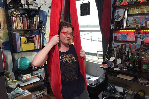 Stephanie Pakrul inside of her room at 20Mission, the startup co-living space at 3491 20th St. Photo by Laura Waxmann