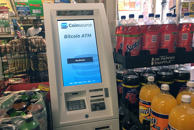 The Mission's new Bitcoin ATM, located at Mission Groceries at 2128 Mission St. Photo by Laura Waxmann