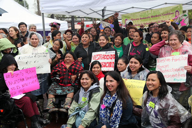 Domestic workers and their supporters gathered at the 24th Street Bart Plaza to rally for overtime pay protections in the industry. Photo by Laura Waxmann