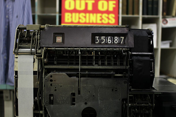 The register at Marian's ringing up some of its last sales. Photo by Laura Wenus