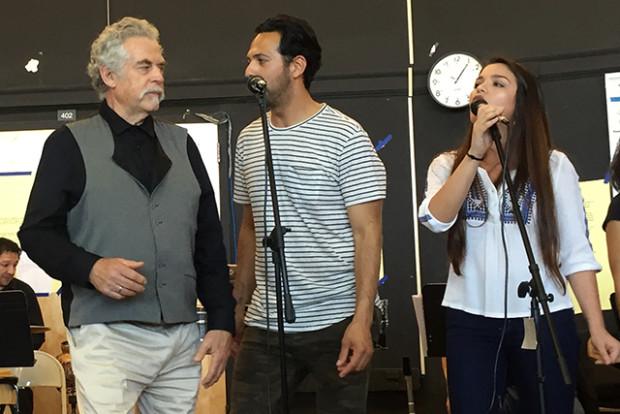 """John Calloway, Carlos Barón and Alicia Mana at a preview of """"El Son de la Misión."""" Photo by Kevin Herglotz"""