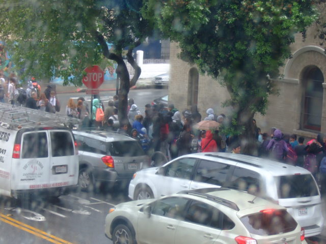 Students being evacuated from Horace Mann. Photo by a community contributor, taken from her window.