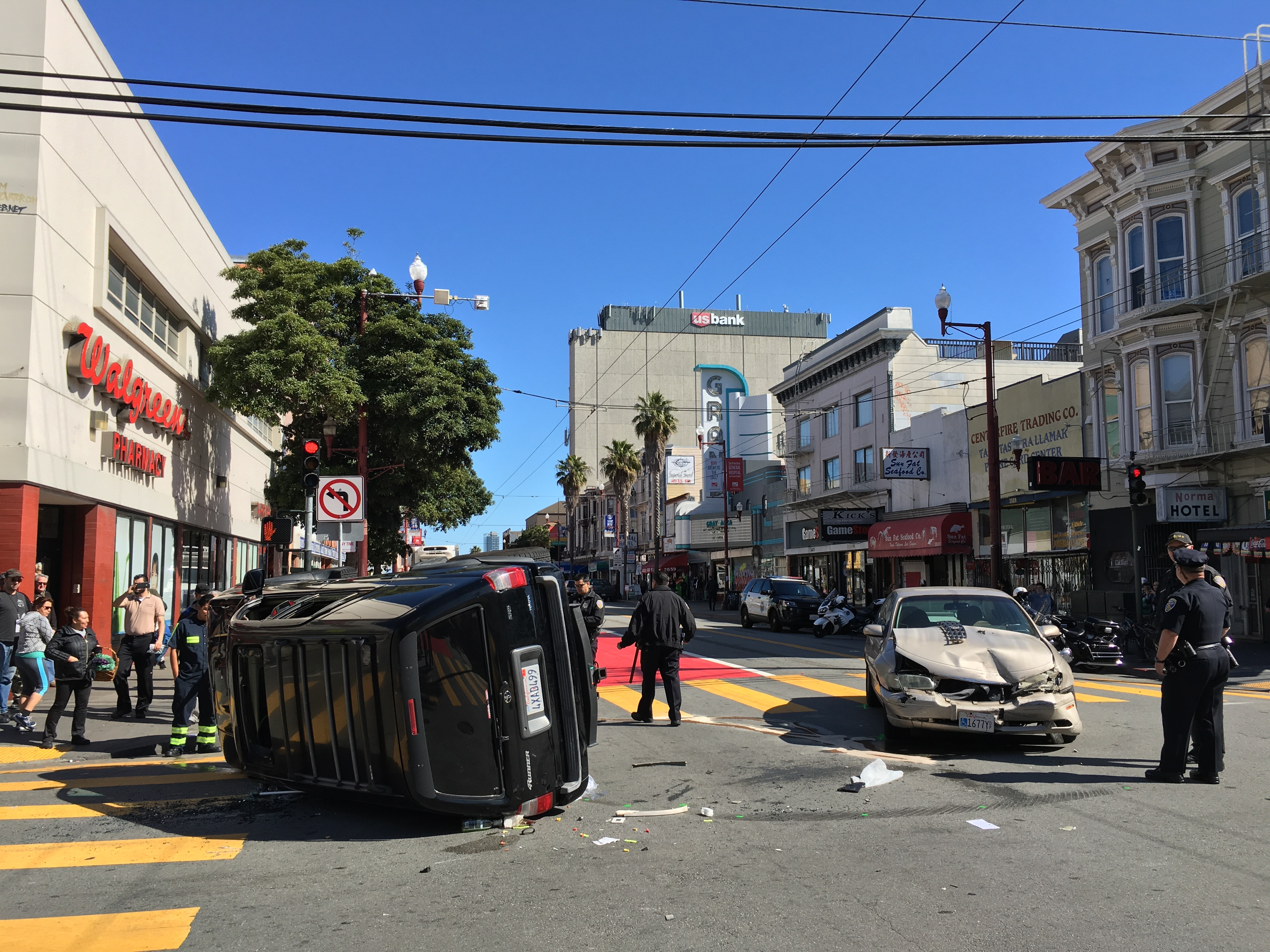 Car Flipped Over, One Injured in SF Mission