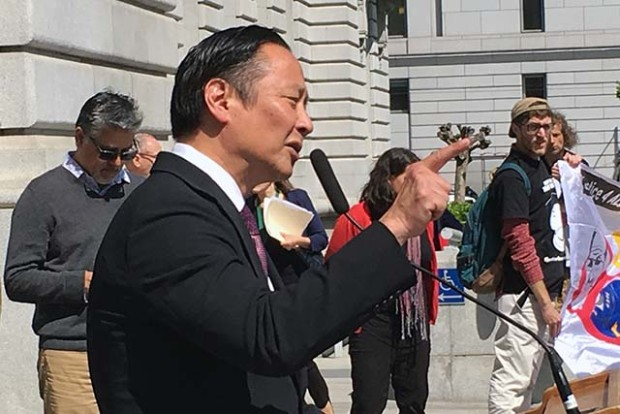 San Francisco Public Defender Jeff Adachi called for a state investigation into police practices during an April 13 press conference at City Hall. Photo by Laura Waxmann