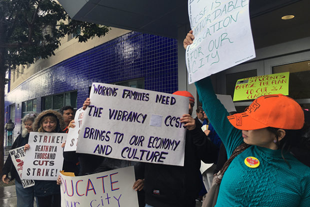 Protesters demanding fair wages gather at San Francisco City College's Mission Campus in strike on April 27. Photo by Laura Waxmann