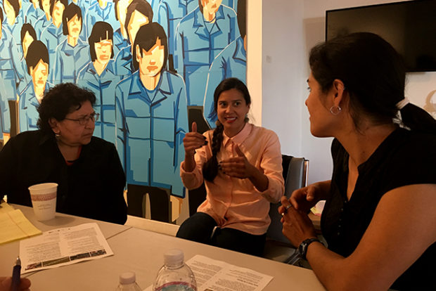 City and community leaders discuss strategies and tools in addressing the preservation of communities subjected to gentrification during a workshop at  the Mission's Galeria de la Raza on April 18. Photo by Laura Waxmann