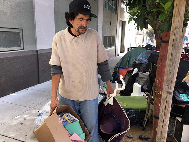 Jose, a resident of a homeless encampment on 19th Street between Shotwell and Folsom streets, said police told him he must vacate the camp on April 14. Photo by Laura Waxmann