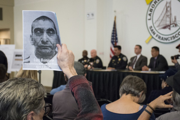 A photo of Luis Gongora at Wednesday's town hall meeting, where Chief Greg Suhr and other police officials addressed an angry crowd. Photo by Lola M. Chavez.