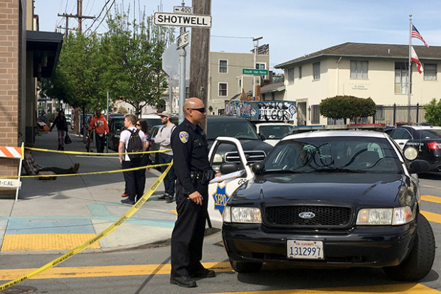 The scene after the shooting of Luis Gorgona. Photo by Laura Waxmann