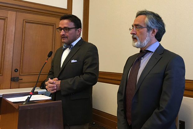 Supervisors Campos and Peskin hold a press conference announcing their new legislation. Photo by Laura Wenus