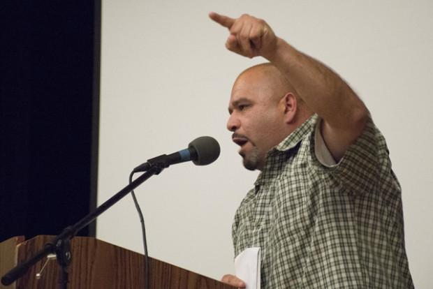 Oscar Salinas speaks at rally in April 2016.