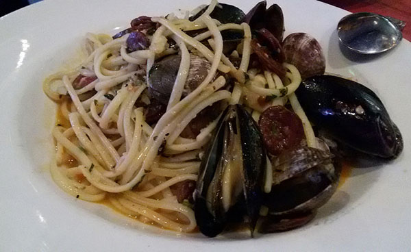 Emmy's linguini with mussels & clams.