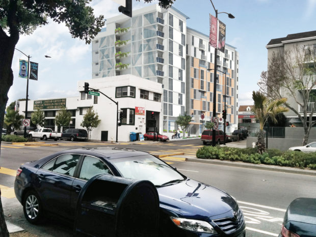 The 1296 Shotwell St. site as seen from the corner of Shotwell and Cesar Chavez streets. Photo courtesy of the Mission Economic Development Agency and Herman Coliver Locus Architecture.