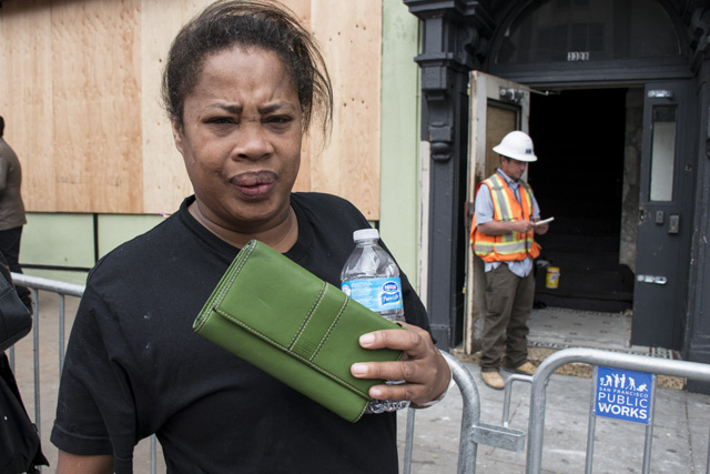Stephanie Wilson outside her burn building. Photo by Lola M. Chavez