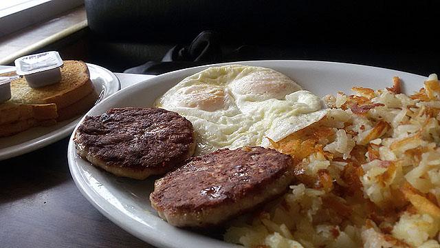 Jim's sausage & eggs.