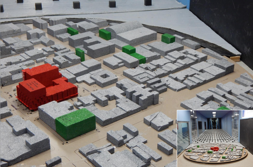 A model created to test the effects of the building on wind in the surrounding areas. An environmental review report found no significant wind effects.