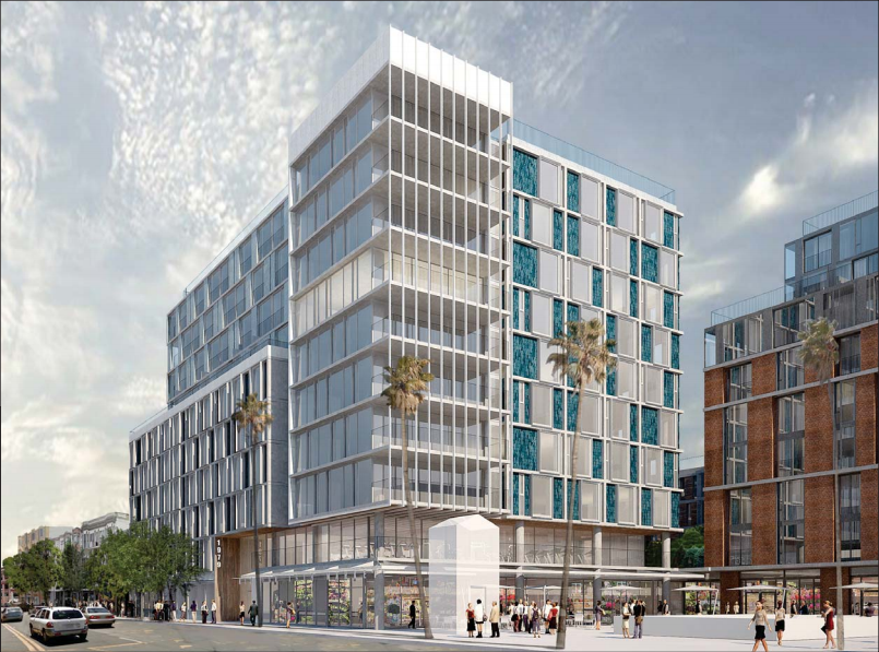 Mock-up of the 6-10 story building at 1979 Mission St., as see from the corner of 16th and Mission.