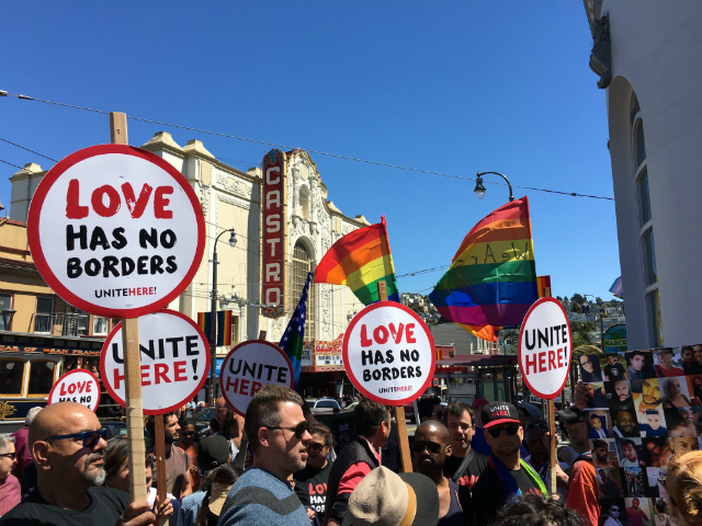 Hundreds met at Harvey Milk Plaza in the Castro District to stand in solidarity with the LGBT Latino community. Photo by Joe Rivano Barros.