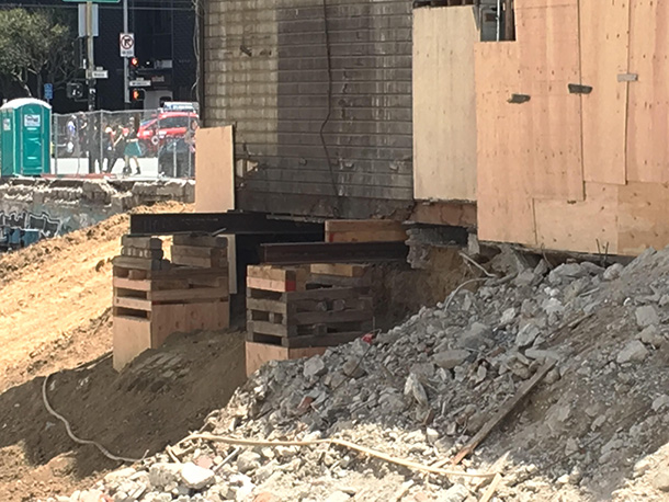 Part of the shoring of the foundation at 3224 22nd Street. Photo by Scott Antipa