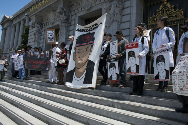 The rally for Amilcar Perez Lopez at City Hall on July 19, 2016. Photo by Lola M. Chavez