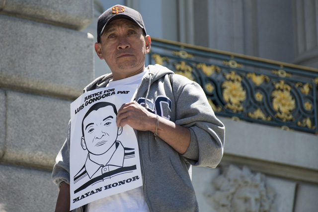 Jose Pool Pat, the brother of police shooting victim Luis Gongora Pat, at City Hall on July 19, 2016, for a rally. Photo by Lola M. Chavez
