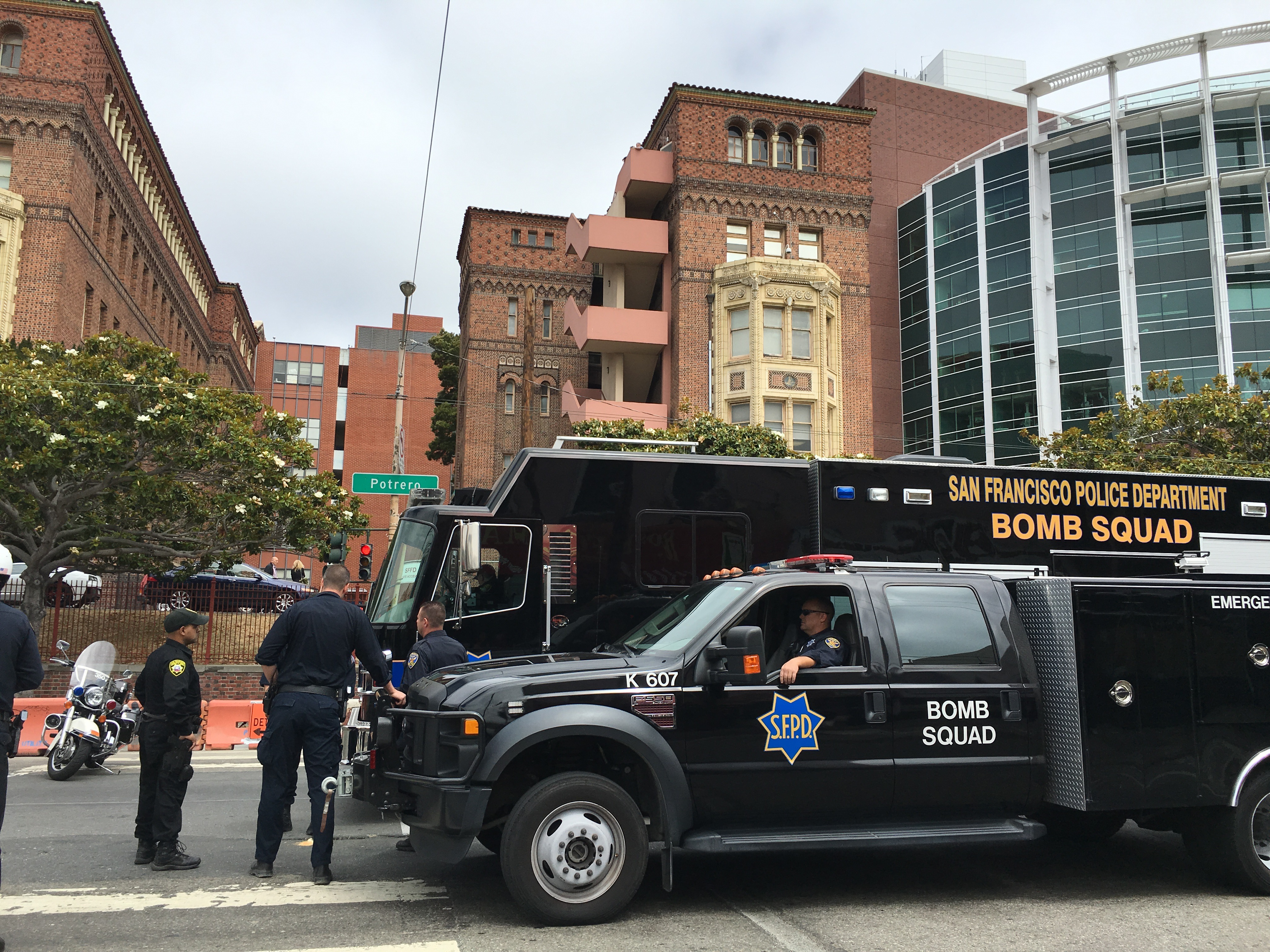 Bomb squad on Potrero Avenue outside San Francisco General Hospital for the firecracker incident on July 7, 2016. Photo by Joe Rivano Barros.