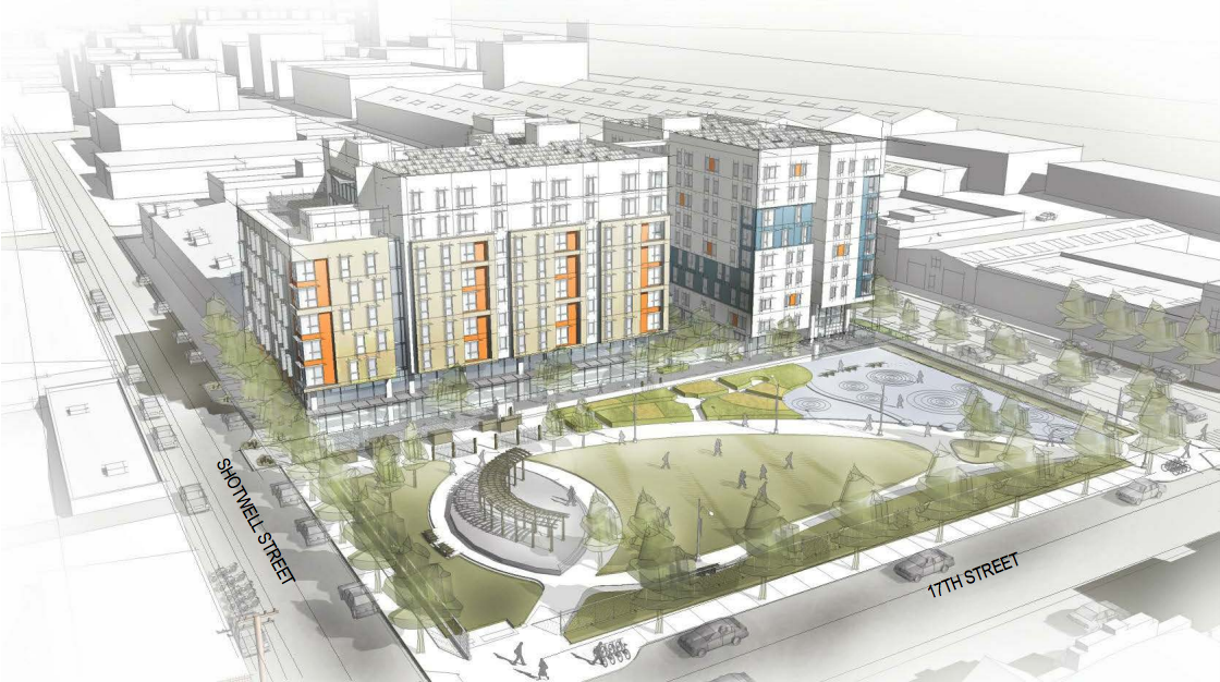 A mock-up of 2070 Folsom Street from Shotwell and 16th streets. Design by Mithun Solomon and Y.A. Studio.