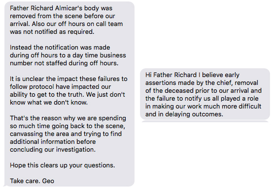 The two text messages released by Father Richard Smith, who says they are from District Attorney George Gascon.
