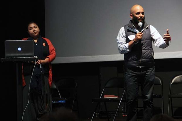 """Community organizers Christina """"Krea"""" Gomez and  Edwin Lindo discuss ways to support the Black Lives Matter movement following a string of police shootings that made national headlines. Photo by Laura Waxmann"""