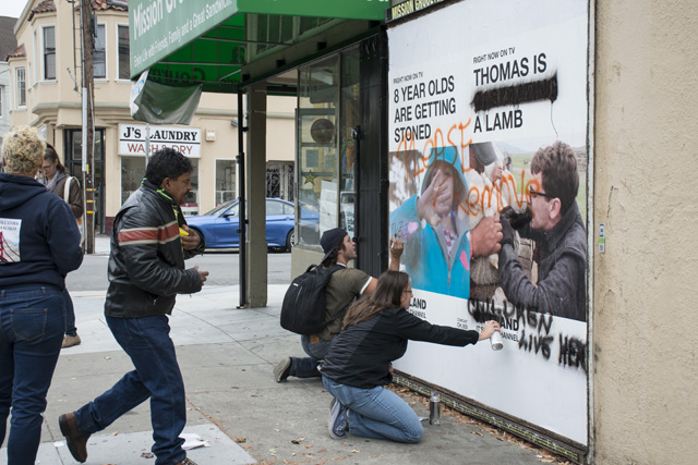 """SF Mission Residents Deface """"Offensive"""" Vice Billboard Ads"""