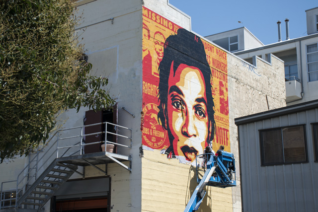 Shot of Shepard Fairley's Mission mural on Friday afternoon. Photo by Lola M. Chavez