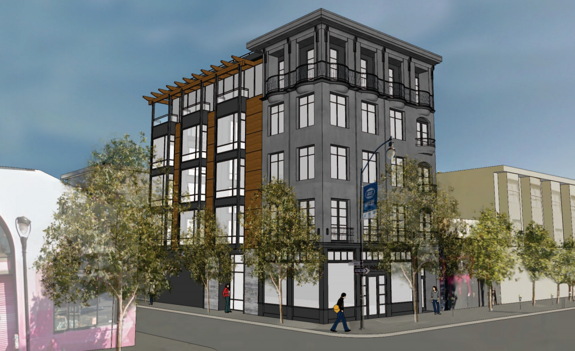 The previous design for the Elbo Room at 645 Valencia St., which razed the old building and replaced it with nine units of condos. Design by Kerman Morris Architects.