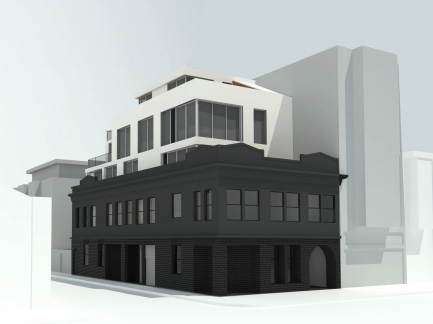 View from Valencia Street of the proposed development at 645 Valencia St. Design by Kerman Morris Architects.